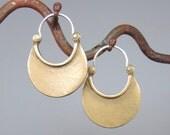 Bronze Crescent Moon Earrings- yellow bronze