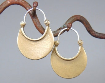 Bronze Crescent Moon Earrings- yellow bronze