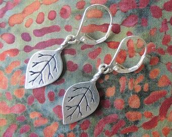 Pointed Leaf Earrings - sterling silver