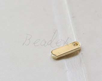 2 Pieces / Real Gold Plated / Brass Tags / Rectangle / Charm / 13x5x1.5mm (C1799//K505)