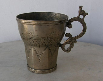 SILVER CEREMONIAL CUP Colonia Period South America Andean Andes Bolivia Hexagonal Flared Top Engravings Llama on Handle Rare Folk Art 1700's