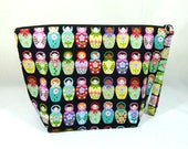 Knitting Project Bag - Large Zipper Wedge Bag in Colorful Matryoshka Doll Fabric and Black / White Polka Dot Cotton Lining
