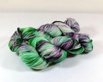 Hand Dyed Yarn - Sock Yarn - Fingering Yarn - Superwash Merino / Nylon - Emerald Iris - Emerald Green / Purple