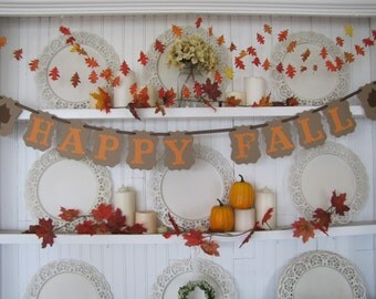 HAPPY FALL Banner, Fall Decorations, Fall sign, Autumn banner