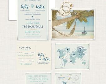 Destination wedding Bahamas Wedding Invitation Set - Andros Island The Bahamas Wedding Set Deposit Payment