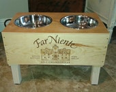 SALE 10.00 OFF WAS 89.99 Wine Crate Dog Feeder/Far Niente Wine Crate/ Raised Dog Feeder/ Napa Valley Dog Feeder