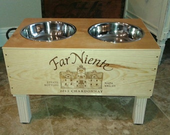 Wine Crate Dog Feeder/Far Niente Wine Crate/ Raised Dog Feeder/ Napa Valley Dog Feeder