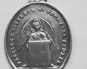 """Vintage Souvenir Confirmation Religious Medal with Angel Pendant on 18"""" sterling rolo chain"""