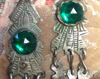 Old Berber Silver Earrings with Green Glass from South Morocco