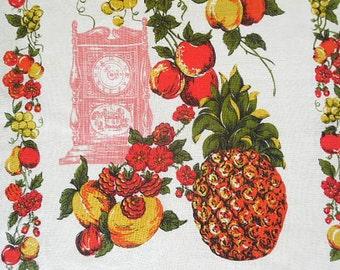 Fruit Design Unused Linen Tea Towel / Dish Towel