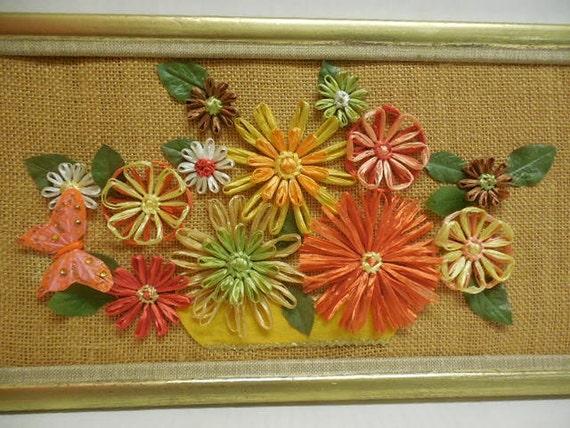 Refurbished Framed Raffia Flower Wall Art Picture