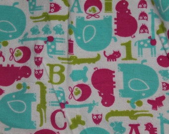 FLANNEL Girly Zoo Animal Crib/Toddler Bed Fitted Sheet