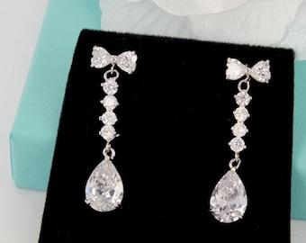 Grace Kelly - Cubic Zirconia Bridal Earrings