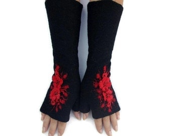 Long Felted Fingerless gloves Fingerless Mittens Arm warmers Gloves - Black Red