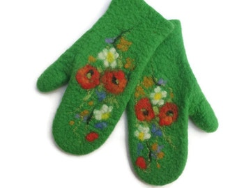 Felted Mittens Merino Wool  Green Flowers