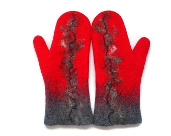 Felted Mittens - Red and Gray