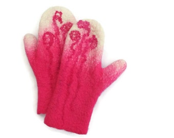 Felted Mittens Merino wool Pink White
