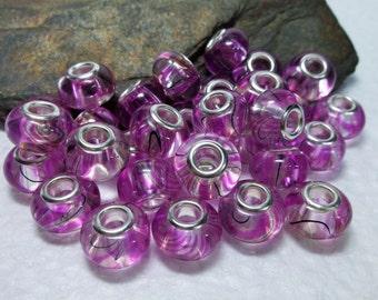 30 Pink Swirl Murano Glass Beads