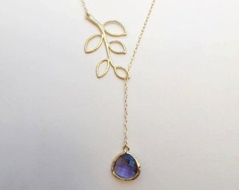 Gold Leaf and Purple Necklace. Dark Purple. Gold Lariat. 5 Leaves Lariat.Leaf Necklace.Leaves Necklace.Bridesmaids Jewelry.Bridal Jewelry.