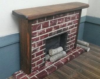 Dollhouse Miniature, Dollhouse Fireplace, Primitive Fireplace, Brick Fireplace, Hand Carved Fireplace, Dollhouse Decor, Dollhouse, Fireplace