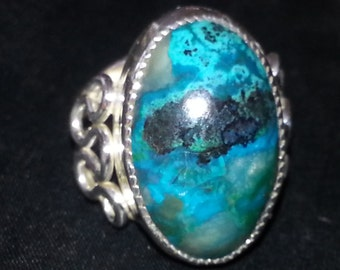 Chrysocolla Ring Size 8.5 Sterling Silver