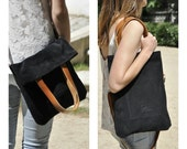 Black leather tote bag crossbody bag woman bag everyday bag casual bag custom - MERY model