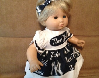 15 inch doll (modeled by Bitty Baby) New York Yankees dress and headband