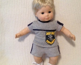 15 inch boy doll (modeled by Bitty Baby) Space shirt with matching shorts