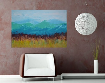 Colorado Prarie 40x30 Large Room Art Textured Mountain Prarie Landscape by MyImaginationIsYours