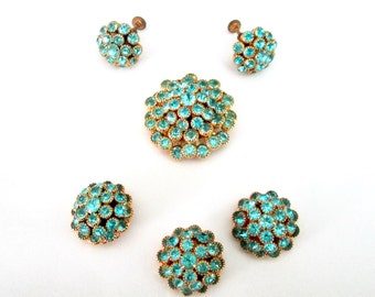 Turquoise Crystal Cluster Pendant Earrings Buttons Set Vintage Mid Century 1950s 1960s