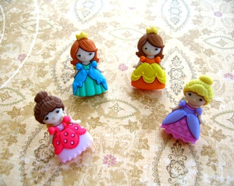 Four Princess Thumbtack , Gile Room Push Pin, Gril Princess Notice Board Pins, Girl's Room Decoration