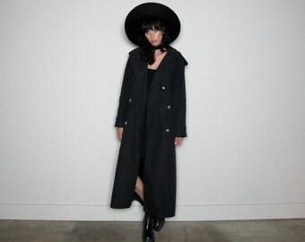 Black TRENCH COAT 90s Maxi Coat Lightweight Rain Coat Vintage Womens Size L/XL