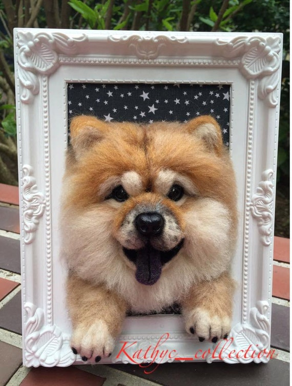 Items similar to Needle wool felt of a baby Chow Chow's head on a ...