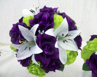 Purple, Lime Green, or Apple Green Roses and White Tiger Lilies Wedding Bouquets Silk Flower Bridal Bouquets 15 pieces made to order Flowers