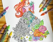 Ariel Flower Dress (Coloring page DOWNLOAD)