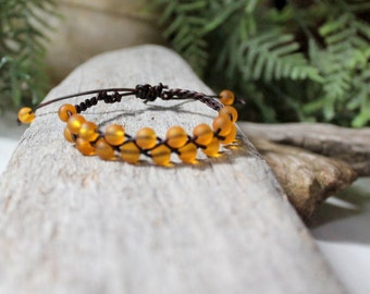 Yellow Beachglass Braided Leather Bracelet, Friendship Bracelet, Boho, Stackable