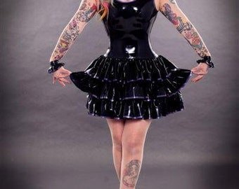 Latex Dress, Latex Sleeveless Victoriana Dress