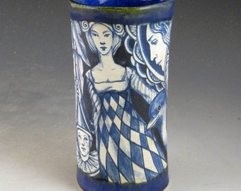 Story vase, porcelain OOAK, drinking glass, Blue and white, hand painted