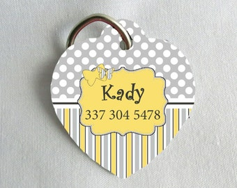 Heart Pet ID Tag - Butterfly - Grey and Yellow - Personalized - Pet Safety