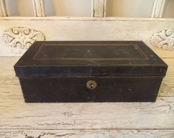 Vintage black red and gold cash box - no key