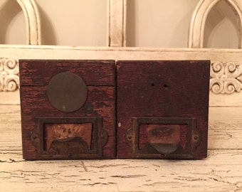 Vintage Rustic Wooden Drawers - Set of Two - Industrial Card Catalog Drawer - Great for Storage or Wedding Decor