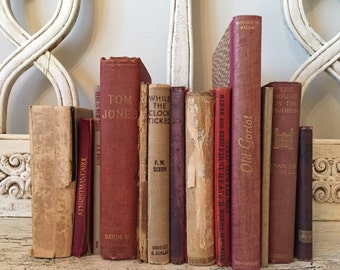 Farmhouse Tattered Book Stack  - Rustic Home Decor - Red and Tan Books - 1800s-1900s