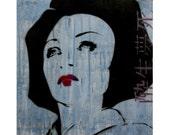 Japanese Art Geisha Painting 14 x 14 Original Portrait Artwork on Canvas Stencil Spray Paint Acrylic Paint Graffiti Pop Art Inspired