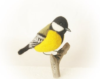 Great tit Needlefelt bird decor for Christmas interior decor Collectible bird figurine Woodland Home decor Gift for bird lovers