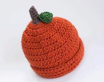Children's Pumpkin Hat ~  Crochet Fall Photoprop ~ Newborn Photography ~Autumn Pumpkins