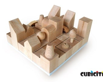 CUBICITI Natura - Eco Friendly and Natural Cityscape Wooden Blocks - Educational Toy.