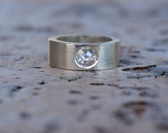 Engagement ring - sterling silver ring, clear zircon.