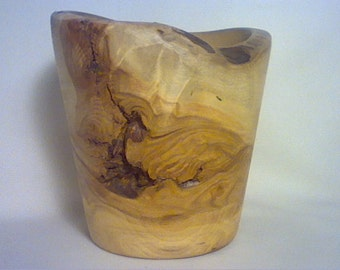 "Aspen wood wooden bowl lathe turned artist signed DI Page AZ 4 1/2"" tall"