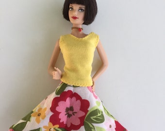 Barbie clothes; flower skirt for Barbie; modest Barbie clothes, Barbie skirt, handmade Barbie clothes