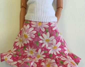 Pink and daisies ruffle skirt for Barbie and friends; Handmade Barbie clothes